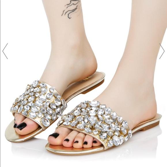 41c6e81d4ba1c Dolls Kill Shoes - Rhinestone Slides💖✨